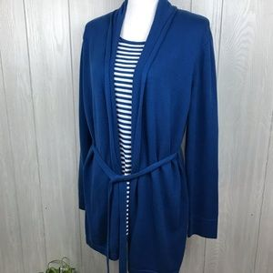 Style & Co blue attached knit top and cardigan